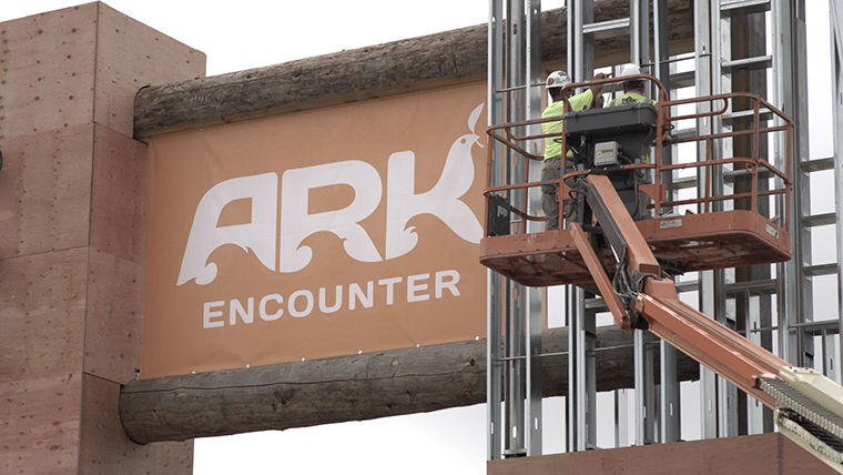 "The Noah's Ark exhibition being built at the Creation Museum in Williamstown,   Kentucky, aims to debunk evolution and strengthen belief in creationism and is the focus of Monica Long Ross' film, ""We Believe In Dinosaurs."""
