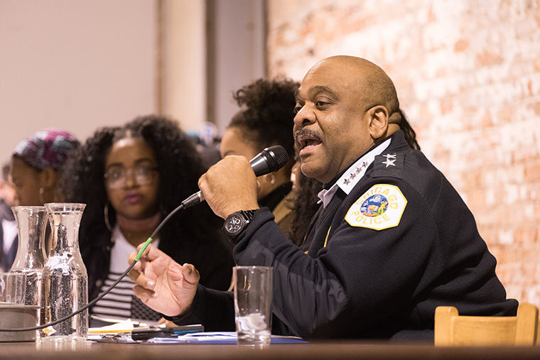 Chicago Police Superintendant Eddie Johnson addesses the questions brought up by members of Youth For Black Lives meeting at Experimental Station, 6100 S. Blackstone Ave. Jan. 17.