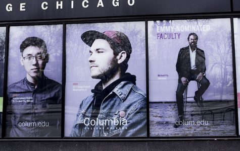 Michael Fry on the wall of 600 S. Michigan Ave.