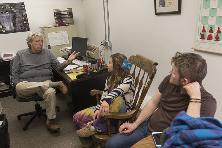 Green Roots Club president, Bre Kloski, junior cinema art and science major,and other members of the club met with faculty advisor Keith Kostecka, Science & Mathematics Department associate professor, March 9 to discuss plans for an Earth Day event.