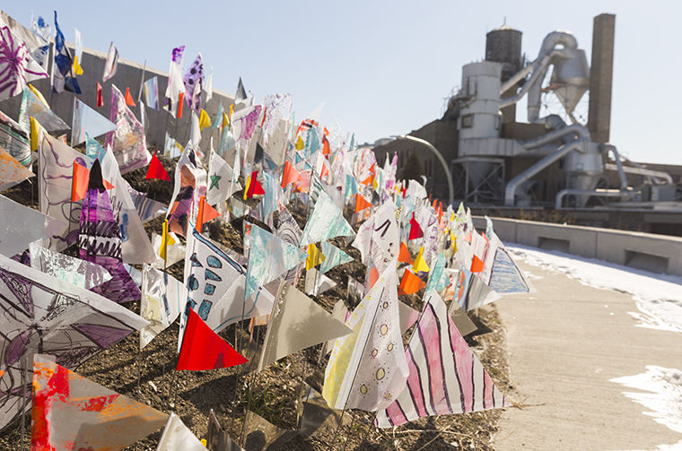"The flags along The 606 trail are part of ""Declaration,"" an installation representing equality and the importance of community, said artist Gwendolyn Terry."