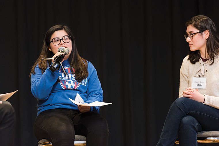 Karina Martinez spoke about her experience attending a neighborhood high school at a March 29 talk debating selective and non-selective high schools.