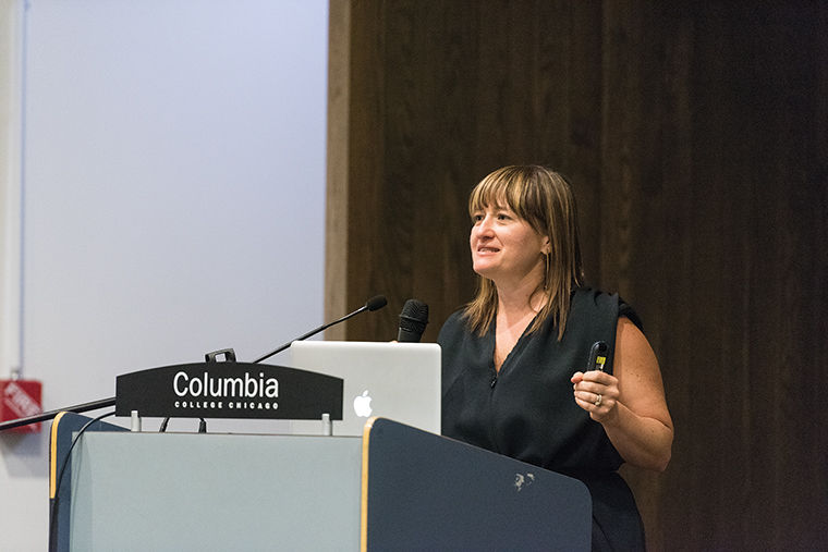Colbey+Emmerson+Reid+gave+a+speech+about+her+experience+and+vision+in+fashion+and+marketing+with+students+and+faculty+members+at+618+S.+Michigan+Ave.+Apr+10.