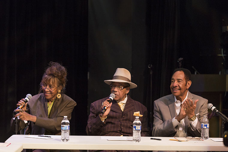 The Jay B Ross Foundation held their first panel on Chicago area music history and early R&B doo-wop, featuring Jacki Ross (Left), Marshall Thompson of the Chi-Lites (Middle), Gene Chandler the Duke of Earl (Right), and music experts Robert Pruter, Bill Dahl, and Gregory Moore.