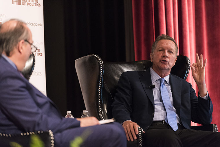 "Gov. John Kasich said he opposes President Trump's immigration policies and healthcare reform at a May 1 discussion while promoting his new book,""Two Paths: America Divided or United."""