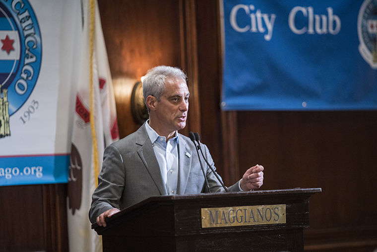 Mayor Rahm Emanuel backed up the criticized CPS CEO Forrest Claypool at a May 30 City Club of Chicago speech.