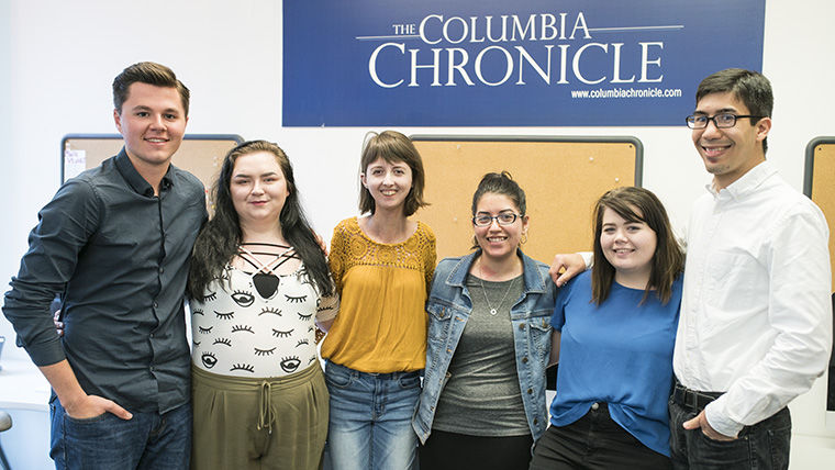 (From left) Ad & Business Manager Charlie Connelly, Editor-in-Chief Zoë Eitel, Art Director Zoë Haworth, Managing Editor Ariana Portalatin, Digital Content Manager Brooke Pawling Stennett and Managing Editor Eric Bradach will serve as the management team for The Chronicle for the 2017–2018 academic year.