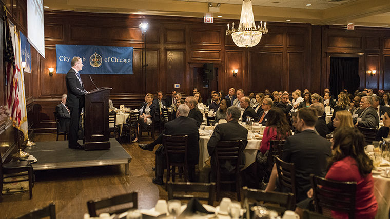 CPS CEO Forrest Claypool spoke to a sold-out City Club of Chicago crowd May 30.
