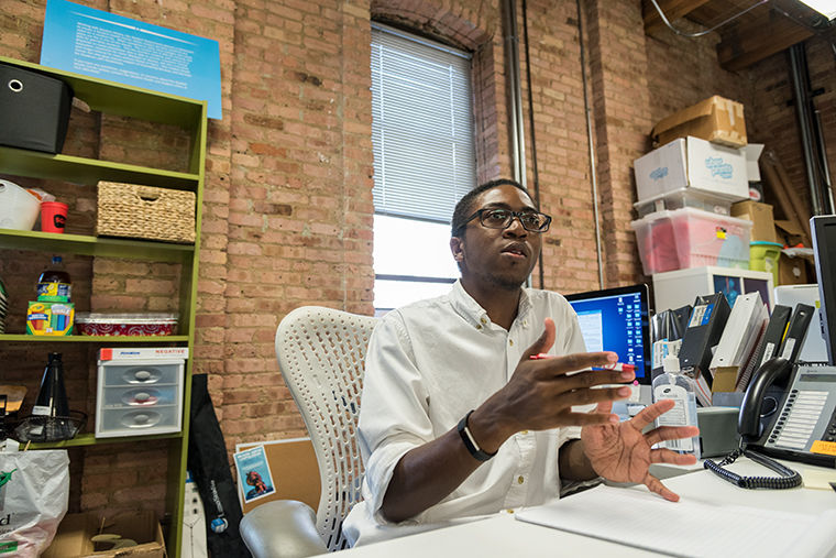 President of the Student Government Association, Malik Woolfork at the SGA office, The Loft, 916. S Wabash Ave. on Aug. 29.