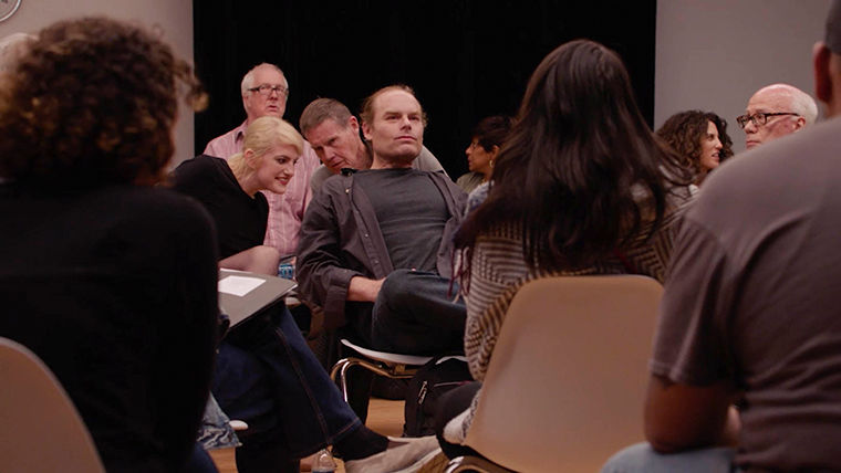 """Strangers practice the Tavistock method of social interaction and observation in Leigh Ledare's film """"The Task"""" showing at the Art Institute of Chicago, 111 S. Michigan Ave., Sept. 9–Dec. 31."""