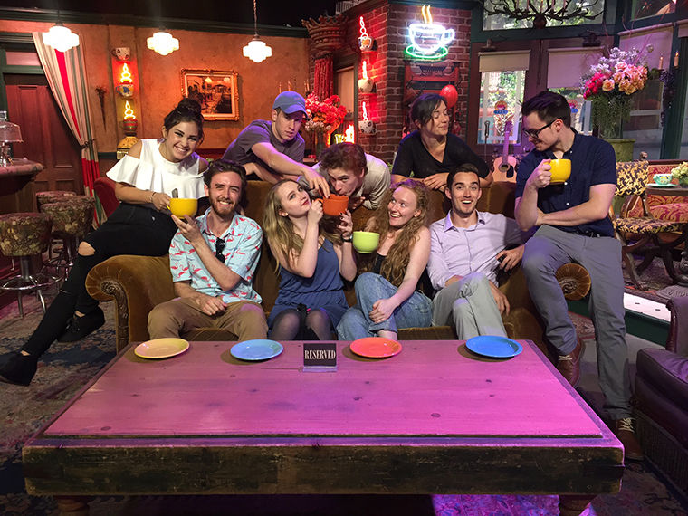 """The Semester in LA students now have more opportunities to get hands-on experience on Hollywood sets, like the summer semester Directing Group on the set of """"Friends,"""" with the programs extension."""