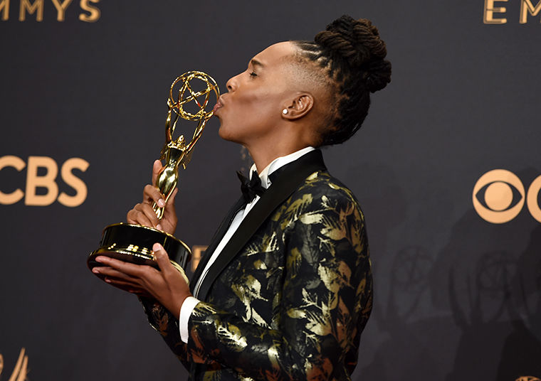"""Aziz Ansari and Lena Waithe were awarded an Emmy in the outstanding comedy writing for a television series category for co-writing an episode in the """"Master of None"""" Netflix original series called """"Thanksgiving""""—an autobiographical episode depicting a young woman coming forward to her family about her sexuality."""