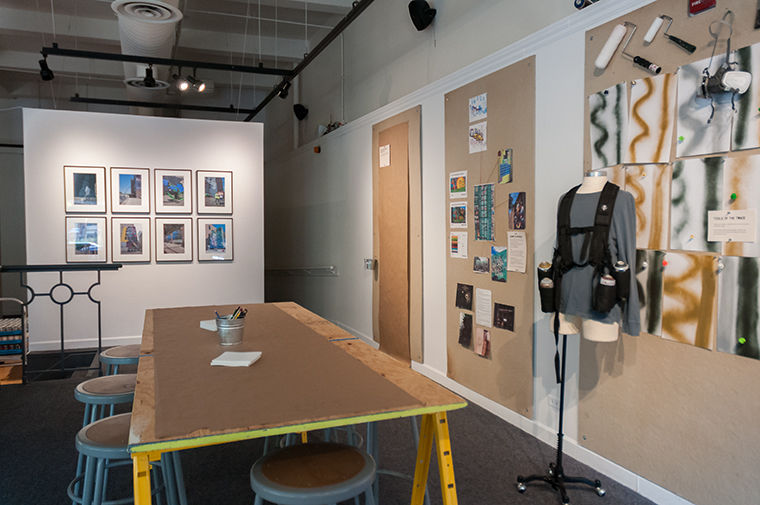 The Wabash Arts Corridor exhibit in 623 S. Wabash Ave. Building devotes space to showing how its murals were planned, and allows students to create a mural of their own.