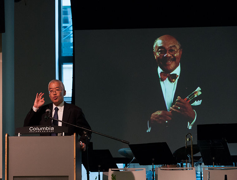 Dr. Kwang-Wu Kim, CEO and president of Columbia, spoke at the memorial for Dr. Warrick Carter, former president of Columbia who passed away in July, on Oct. 16 at at the Conway Center, 1104 S. Wabash