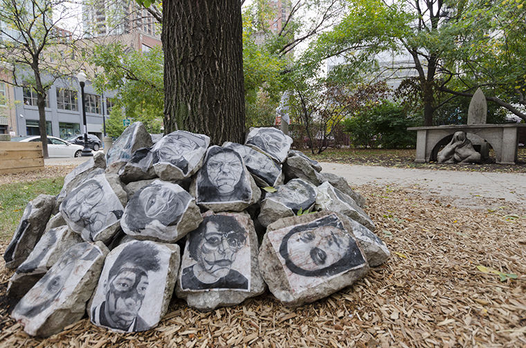 Hannah Jeffries, studio art student at Harold Washington College, said she enjoyed her time transporting and pasting photographs to the rocks in the exhibit.
