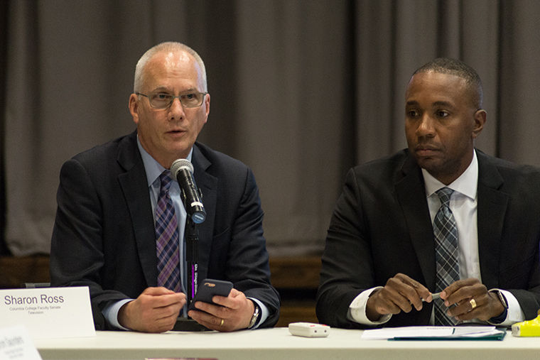 Provost Stan Wearden, along with CFO Jerry Tarrer, speaks at the Faculty Senate on Friday; Oct. 13. Wearden emphasized communication, and also addressed enrollment changes, curricular reform, among other things. 618 S. Michigan; Ave.