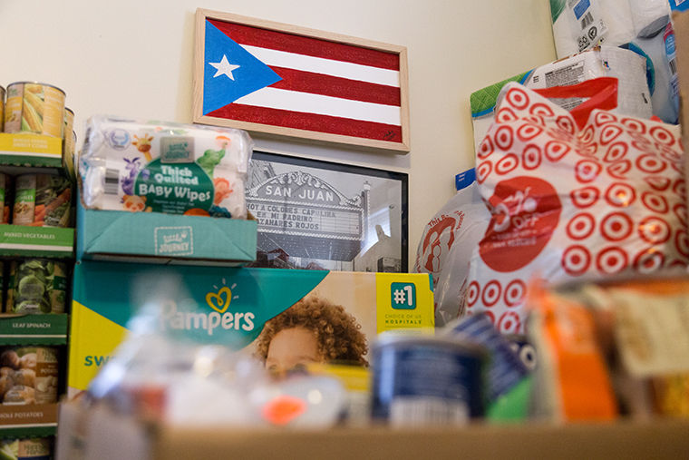 These are donations from people in the community, said Jacqueline Baez, President of the Puerto Rican Cultural Association of Chicago. We're still collecting from all the way through October 21. We have three distribution centers [in Puerto Rico] and [more than] 6,000 volunteers to help distribute all this stuff.