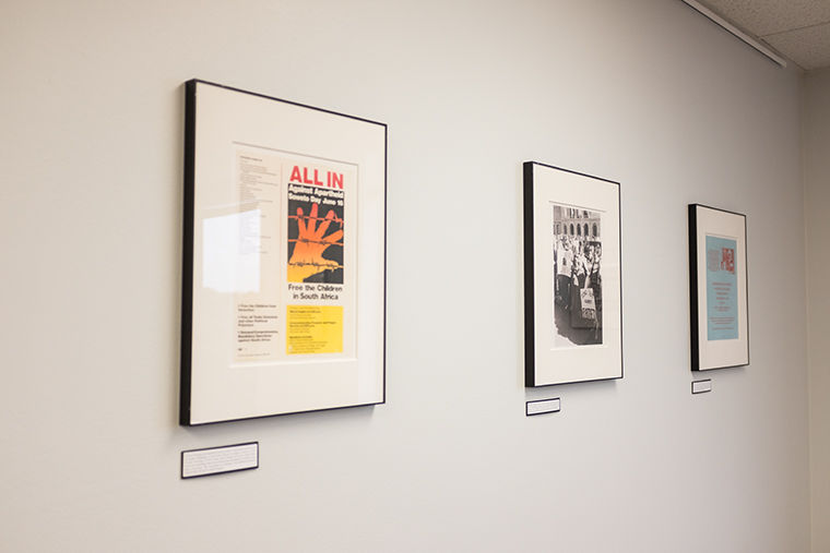 A new exhibit in the library called Chicago Against Apartheid. The exhibit shows the history of Chicago activists fighting against the Apartheid. Photo taken on Oct. 12.