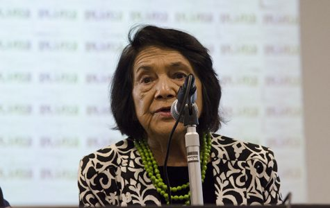 Dolores Huerta, co-founder of the National Farmworkers Association, speaks at the Conaway Center, 1104 S. Wabash Ave., about her experience with civil organizing and activism Oct. 19.