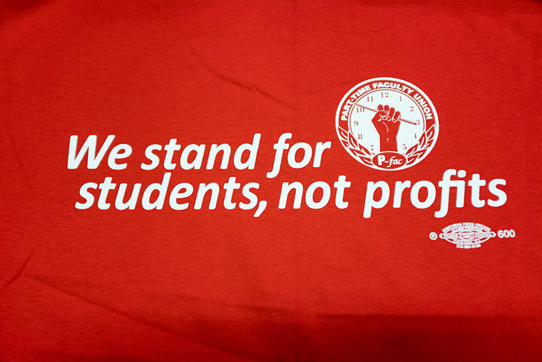 Part-time Faculty Union t-shirts will be distributed during the union's Nov. 29–30 strikes.