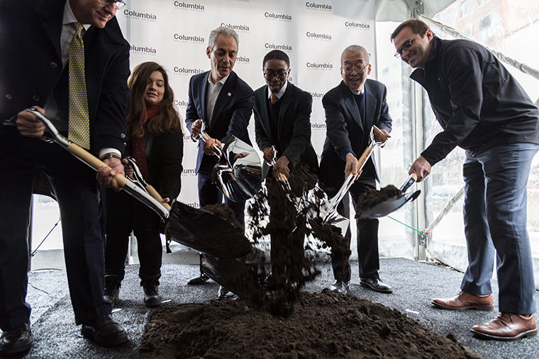 Mayor Rahm Emanuel participated in the groundbreaking event of Columbias new student center, set to be completed in 2019. Also in attendance was Columbias President and CEO Kwang-Wu Kim, SGA President Malik Woolfork, and STAR scholar Hailey Chapetta. Nov. 13. Eighth St. and Wabash Ave.