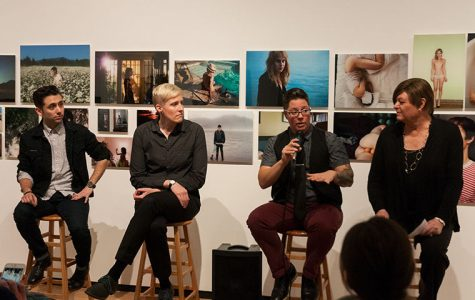 (from far left) Lorenzo Triburgo, Dr. Vanessa Fabbre and Jess T. Dugan, with moderator Vanessa Sheridan, discussed vunerability in the older LGBTQ community using Tribugo's and Dugan's exhibition
