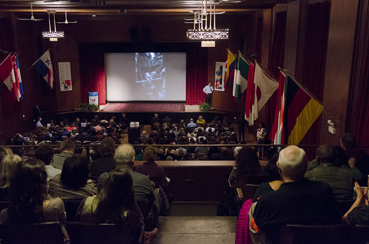 """Attendees at the International House at the University of Chicago were presented with a slideshow of pictures featured in Pete Souza's new book, """"Obama: An Intimate Portrait."""""""