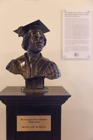 Georgiana Rose Simpson's bust is the first installment of the Monumental Women Project started by Shae Omonijo and Asya Akca, two political science students at the University of Chicago.