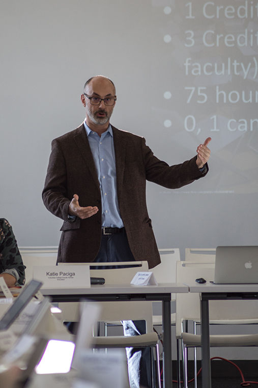Erik Friedman, associate dean of career development and relations, gave a presentation on internships and the career center dring the faculty senate meeting December, 8. 1104 S. Wabash Ave.