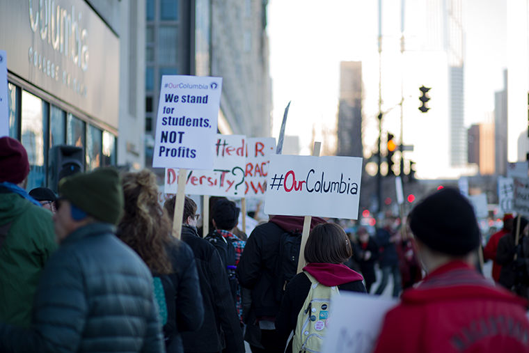 A crowd of adjunct professors and supporters participated in a strike, coordinated by the part-time faculty union, outside the 600 S. Michigan Ave. Building, on the demonstration's second day, Nov. 30.