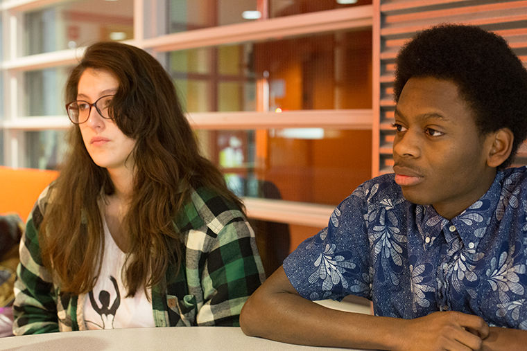 Liliana June-Lotero (left) and Will Pettway are attempting to raise awareness with their J-Term course project on discrimination in the Theatre Department