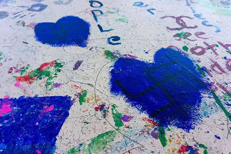 Swastikas drawn in The Dwight graffiti room were discovered Feb. 1 and most were covered with blue paint by the next morning. The graffiti room was scheduled for routine repainting the weekend after the discovery, which Dean of Students John Pelrine said was a coincidence.