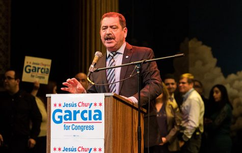 Chuy Garcia Illinois 4th Congressional District candidate speaking at a rally on Feb. 22 at Apollos 2000.