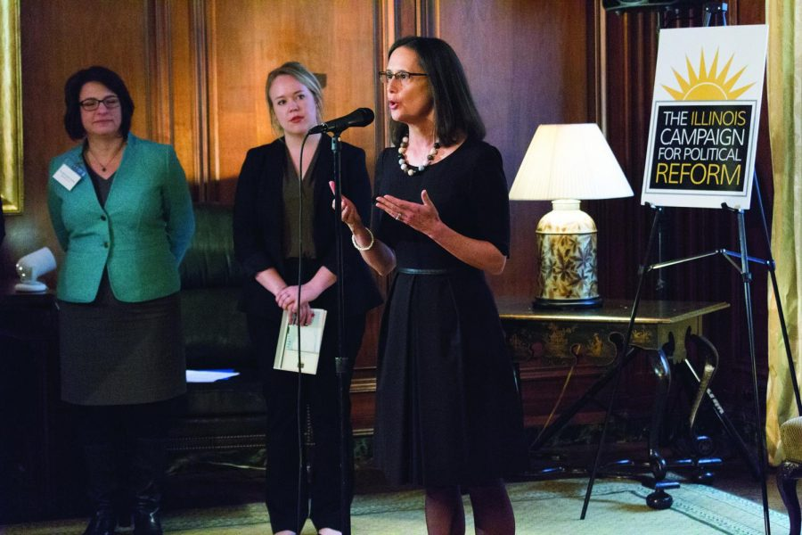 Illinois Attorney General Lisa Madigan gave opening remarks at the Illinois Campaign for Political Reform panel, calling sexual harassment a form of discrimination.