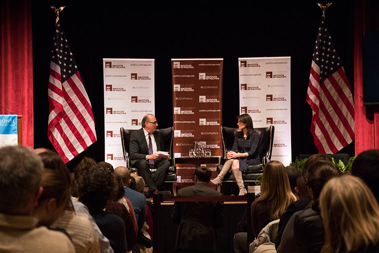 University of Chicago students and faculty, along with Chicago media, gathered to hear U.S. Ambassador to the U.N. Nikki Haley speak with David Axelrod, Obama's former chief strategist about foreign policy, human rights and even President Donald Trump's Twitter account.