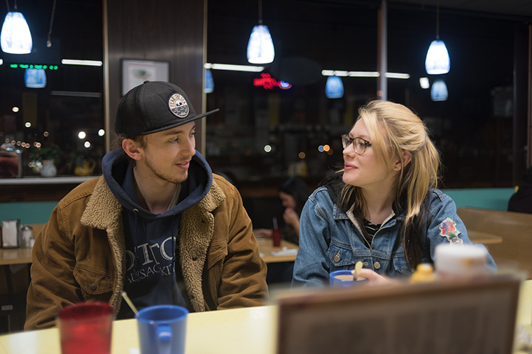 """1:55 a.m. Jon Hardman, 23, and Kaitlyn Beiriger, 20, celebrate Jon's birthday with a movie and a late bite. The couple frequents Jeri's not only for the food but also to visit Lorrie, an employee they've come to adore. """"I told him we would go anywhere he wanted for his birthday, but he just wanted to come here,"""" Kaitlyn said."""