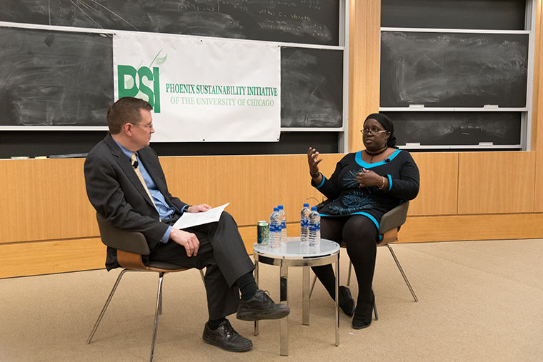 Mark Templeton, clinical professor at the University of Chicago Law School and director of the Abrams Environmental Law Clinic, moderated a discussion with Jacqueline Patterson on the disproportionate impact low-income communities face as a result of climate change at 1160 E. 58th St.