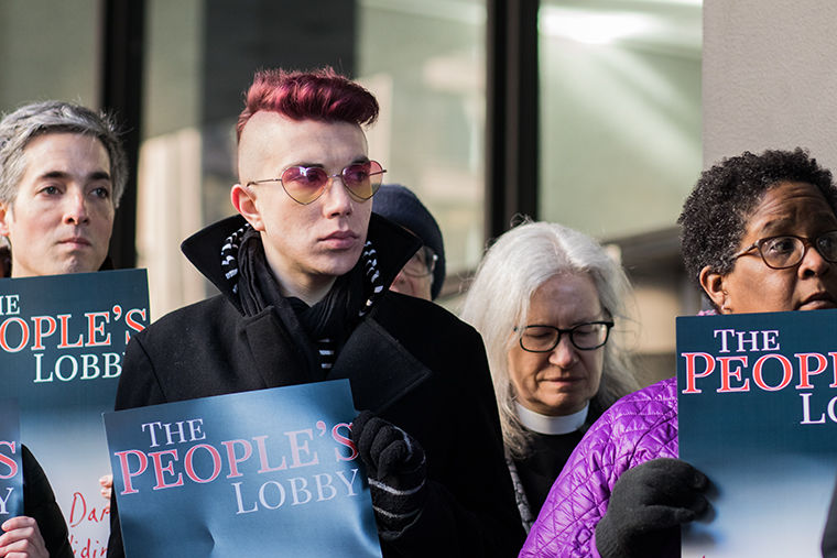 Joe Padilla, a student at the University of Illinois at Chicago, joined The People's Lobby in protest of Cook County's cash bail system.