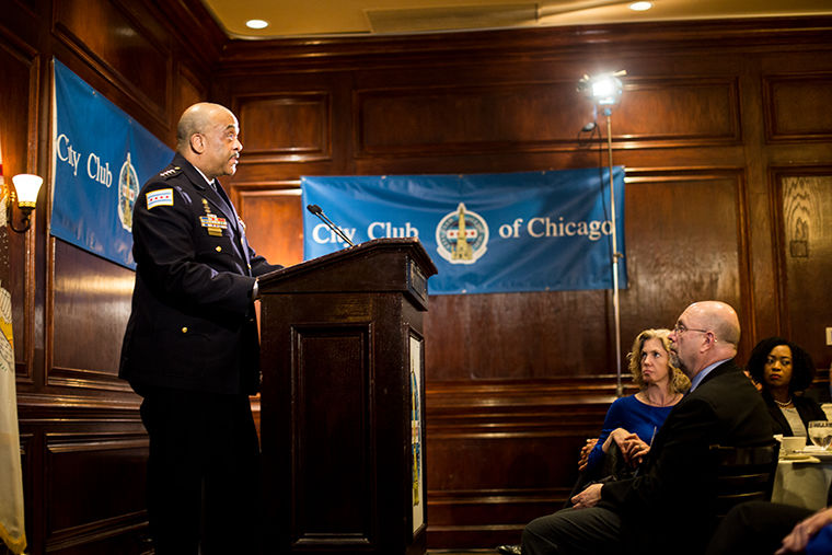 CPD Superintendent Eddie Johnson discusses gun violence reductions at an April 10 Chicago City Club meeting, 111 W. Grand Avenue.