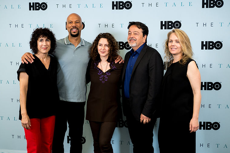 Jennifer Fox, director and writer for The Tale, Common and Len Amato at the HBO premier.