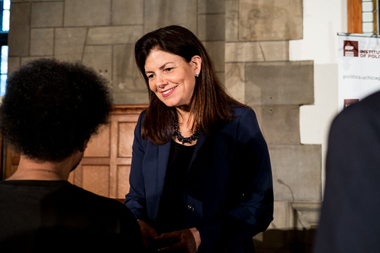Kelly Ayotte, a former U.S. senator from Hampshire, spoke with audience members following the University of Chicago Institute of Politics event. Throughout the discussion, Ayotte noted the lack of Republican women running for public offices.