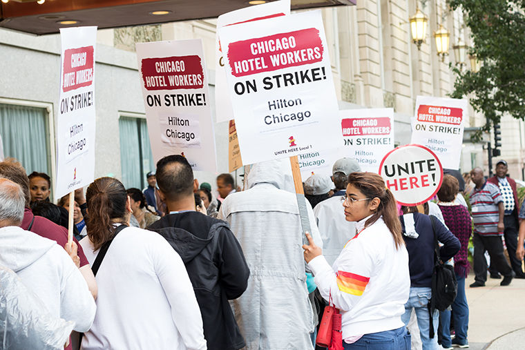 Hospitality+union+workers+strike+for+new+contract