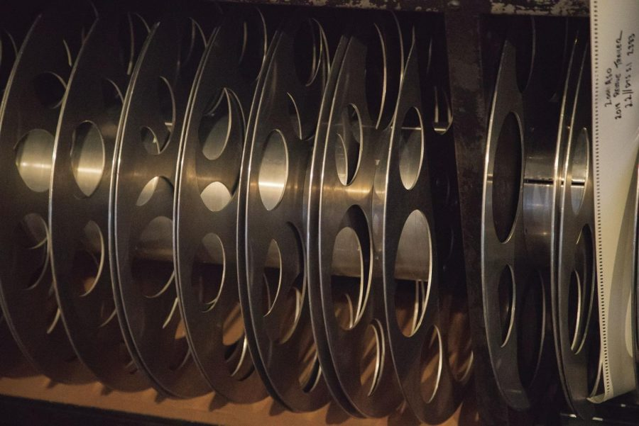 Reels of film at The Music Box Theater, 3733 N. Southport Ave.