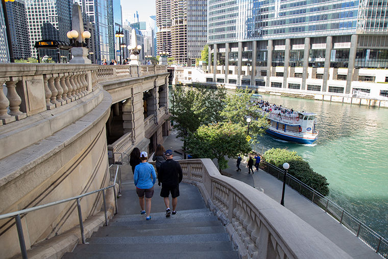 The Chicago Riverwalk is home to shops, cafes, fountains, tour boats and artwork.