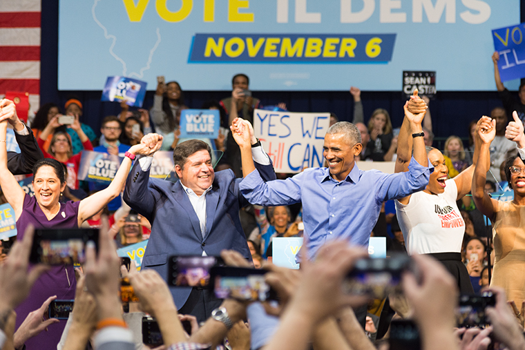 Illinois+gubernatorial+candidate+J.B.+Pritzker+celebrates+alongside+former+President+Barack+Obama+at+the+%22Get+Out+The+Vote%22+rally+Nov.+4.