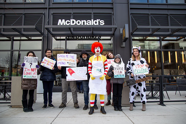 Chicago environmental activists called on McDonalds to boycott unsustainable meat suppliers Tyson and Cargill in a Nov. 13 Rally for Clean Water.