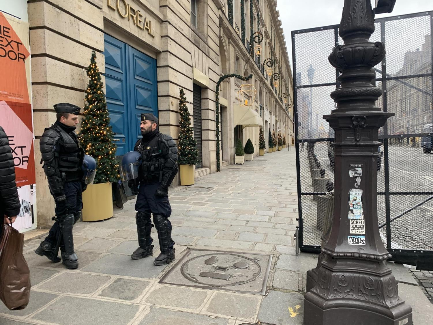 French police officers watched over yellow vest demonstrations in Paris, France.