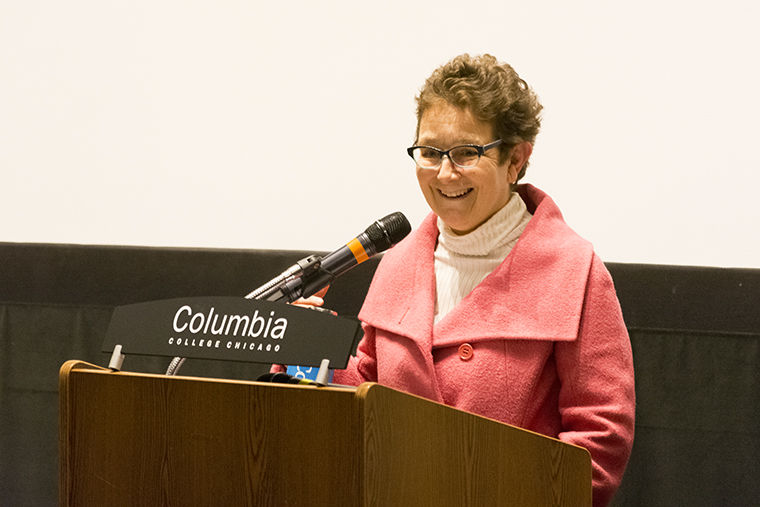 Senior Vice President and Provost final candidate Lourdes María Alvarez addressed members of the Columbia College Chicago community Feb. 7 at Film Row Cinema, 1104 S. Wabash Ave.