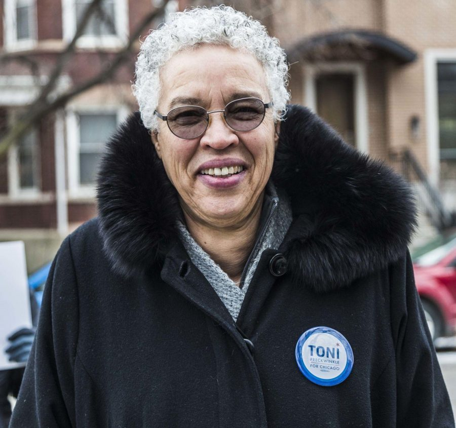 Mayoral candidate Toni Preckwinkle campaigning before the election. Preckwinkle won enough votes Tuesday to move on to a runoff in April.