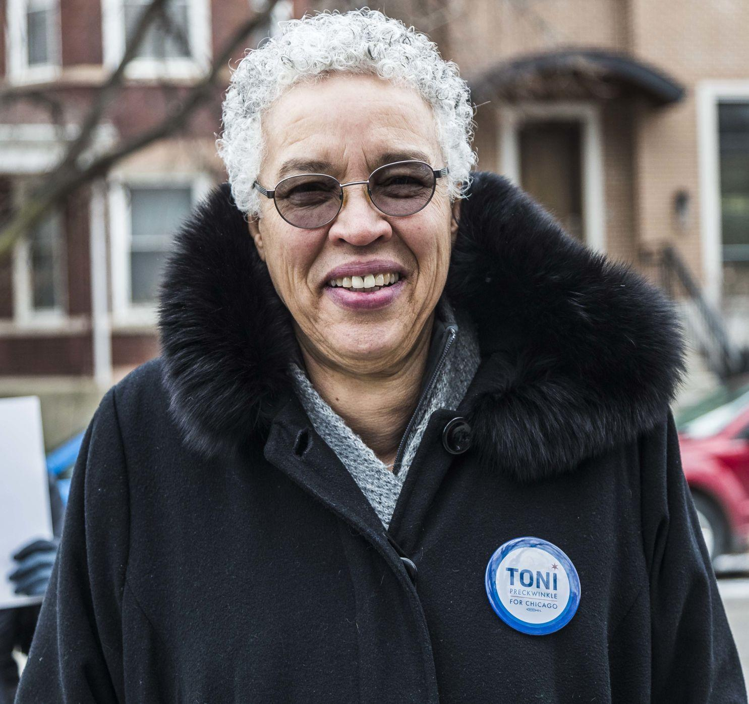 Mayoral+candidate+Toni+Preckwinkle+campaigning+before+the+election.+Preckwinkle+won+enough+votes+Tuesday+to+move+on+to+a+runoff+in+April.